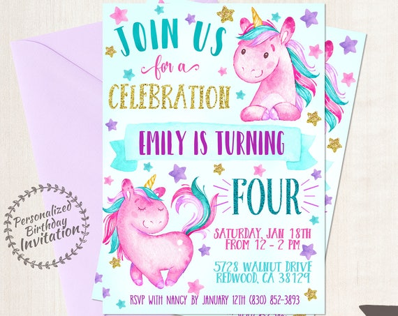 Unicorn Birthday Invitations, Unicorn Birthday Party, Customizable, Pony, Girl Birthday, Printable Invitations, Pink Teal Purple Magical 067