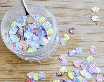 5 grams -6mm Pastel Glitter Shells, Pastel Glitter, Glitter, Pink, Purple, Blue, Glitter Confetti, Confetti, Kawaii, Resin Glitter