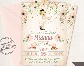 Vintage Tea Party Customizable Birthday Invitations, Cute Birthday, Girl Birthday Invitations, Tea Party, Printable Invitations 044
