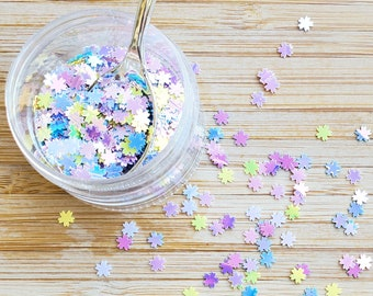 5 grams - 5mm Pastel Rainbow Cherry Blossom Glitter, Iridescent, Glitter, Pink, Purple, Blue Glitter, Confetti, Kawaii, Resin Glitter