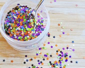 5 grams - 3mm Halloween Star Mix Glitter, Holographic Glitter, Glitter, Silver, Green, Purple, Black, Orange Confetti, Kawaii, Resin Glitter