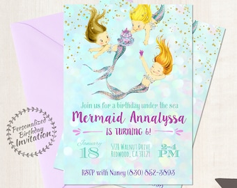 Vintage Mermaid Customizable Birthday Invitations, Mermaid, Beach, Girl Birthday, Ocean, Printable Invitations, Glitter, Purple, Teal 050