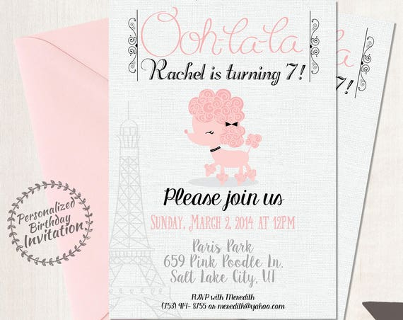 Pink Paris Poodle Customizable Birthday Invitations, Poodle, Girl Birthday Invitations, Paris Birthday, Printable, Paris Poodle Party 047