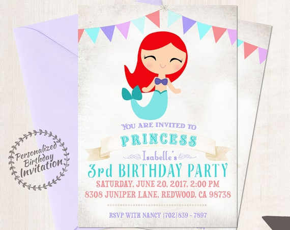 Princess Ariel Customizable Birthday Invitations, Princess, Girl Birthday Invitations, Ariel Birthday, Printable, Ariel Mermaid Birthday 053
