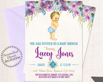 Vintage Baby Boy Baby Shower Invitations, Baby Shower Invitations, Printable Invitations, Baby Boy, Blonde, Teal, Purple, Floral 019