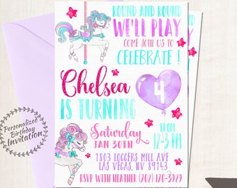 Vintage Pony Carousel Birthday Invitations, Pastel, Horse, Girl Birthday, Customizable, Printable Invitations, Glitter, Purple, Pink 065