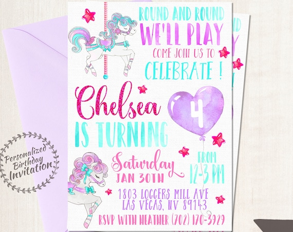 Vintage Pony Carousel Birthday Invitations, Pastel, Horse, Girl Birthday, Customizable, Printable Invitations, Glitter, Purple, Pink 065