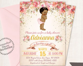 African American Vintage Baby Girl, Floral Baby Shower Invitations, Printable Baby Shower Invitations, Baby Girl, Black, Pink, Floral 023
