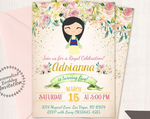 Princess Mulan Birthday Invitations,  Customizable, Princess, Girl Birthday Invitations, Mulan Birthday, Printable, Party, Fairy Tale 063