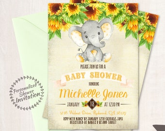Sunflower Elephant Baby Shower Invitations, Printable Invitations, Fall Baby Shower, Elephant, Yellow, Floral, Sunflowers, Nursery, 020