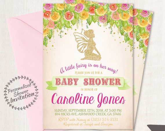 Vintage Fairy Baby Shower Invitations, Baby Shower Invitations, Printable Invitations, Baby Girl, Fairy, Purple, Pink, Floral 022