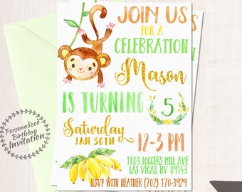 Monkey Birthday Party Invitations, Boy Birthday Invitations, Customizable, Monkey birthday party, Green, Printable Invitations, Boy 079