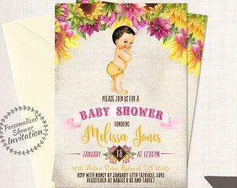 Sunflower Boy Baby Shower Invitations, Fall Baby Shower Invitations, Printable Invitations, Baby Boy, Yellow, Autumn, Sunflower, Pink 016
