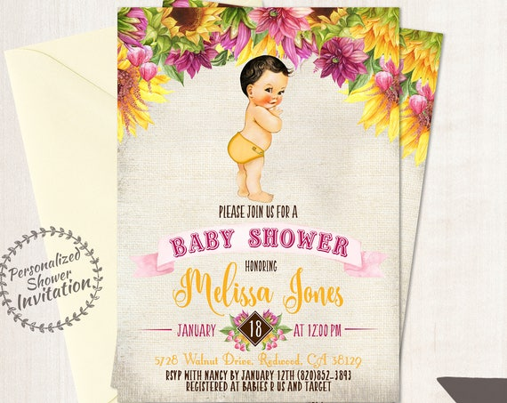 Sunflower Boy Baby Shower Invitations, Fall Baby Shower Invitations, Printable Invitations, Baby Boy, Yellow, Autumn, Sunflower, Pink 016
