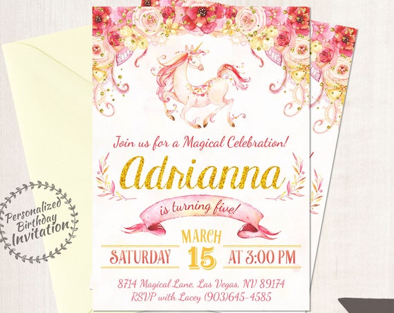 Unicorn Birthday Invitations, Unicorn Birthday Party, Customizable, Pony, Girl Birthday, Printable Invitations, Pink, Gold, Magical 068