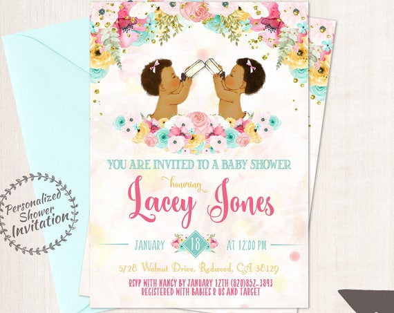 Twins Girls, African American Vintage Baby Girl, Baby Shower Invitations, Printable Invitations, Baby Girl, Teal, Pink, Floral 001