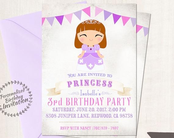 Princess Sofia Party Birthday Invitations Customizable, Princess, Girl Birthday Invitations, Princess Birthday, Printable, Sophia Party 055