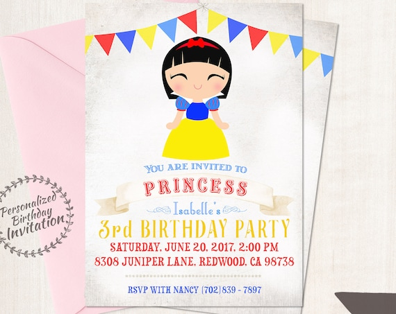 Princess Snow White Birthday Invitations, Customizable Princess, Girl Birthday Invitations, Fairy Tale Birthday, Printable, Party 060