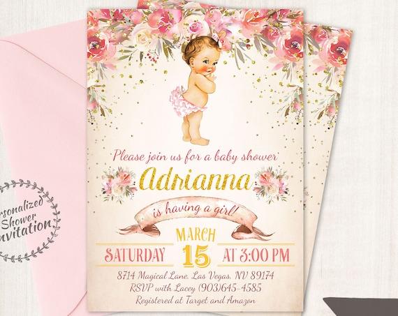 Vintage Baby Girl Baby Shower Invitations, Floral Baby Shower Invitations, Printable Invitations, Baby Girl, Pink, Floral 023