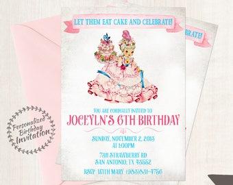 Vintage Marie Antoinette Customizable Birthday Invitations, Let Them Eat Cake, Girl Birthday Invitations, Printable Invitations, Cake 048