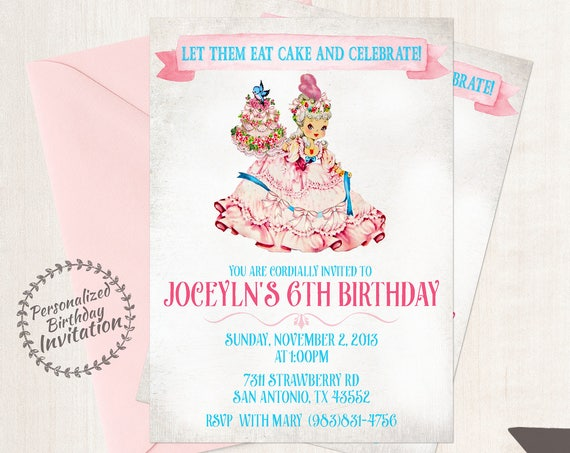 Vintage Marie Antoinette Customizable Birthday Invitations, Let Them Eat Cake, Girl Birthday Invitations, Printable Invitations, Cake 048
