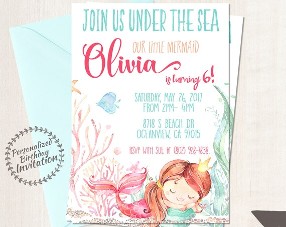 Princess Mermaid Customizable Birthday Invitations, Mermaid, Beach, Girl Birthday, Ocean, Printable Invitations, Coral, Pink, Teal 064