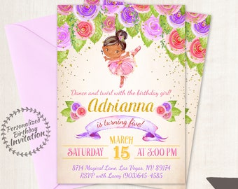 Floral Ballet Customizable Birthday Invitations, Customize, Girl Birthday Invitations, Ballet Birthday, Printable Invitations, Ballet 070