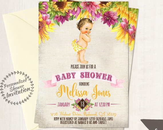 Sunflower Baby Shower Invitations, Vintage Baby Girl, Baby Shower Invitations, Printable Invitations, Baby Girl, Yellow, Pink 016