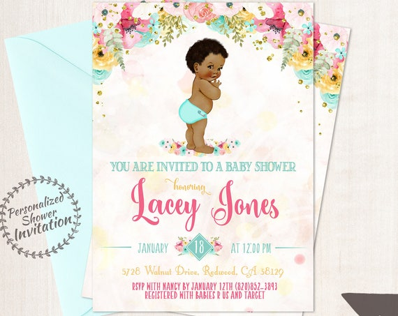 African American Vintage Baby Boy, Baby Shower Invitations, Printable Baby Shower Invitations, Baby Boy, Black, Teal, Pink, Floral 001