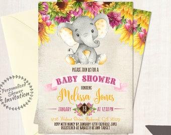 Sunflower Elephant Baby Shower Invitations, Printable Invitations, Fall Baby Shower, Elephant, Yellow, Floral, Sunflowers, Nursery, Pink 017