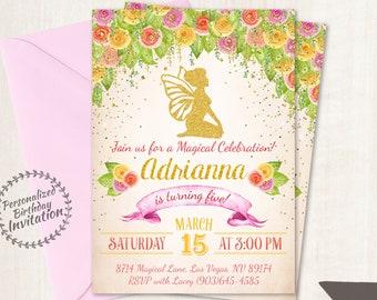 Fairy Birthday Invitations, Magical Birthday Party, Customizable, Fairy, Girl Birthday, Printable Invitations, Pink, Gold, Magical 069