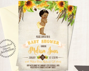 Sunflower Baby Shower Invitations, African American Vintage Baby Girl, Printable Baby Shower Invitations, Baby Girl, Yellow, Floral 014