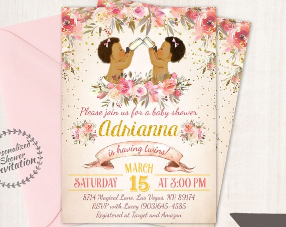 Boy and Girl Twins, African American Vintage Baby Shower Invitations, Baby Shower, Printable Baby Shower Invitations, Twins, Teal, Pink 023