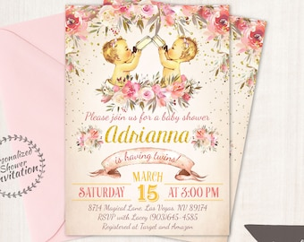 Twins Floral Baby Shower Invitations, Boy and Girl Options, Baby Shower Invitation, Printable Baby Shower Invitation, Twins, Floral 023