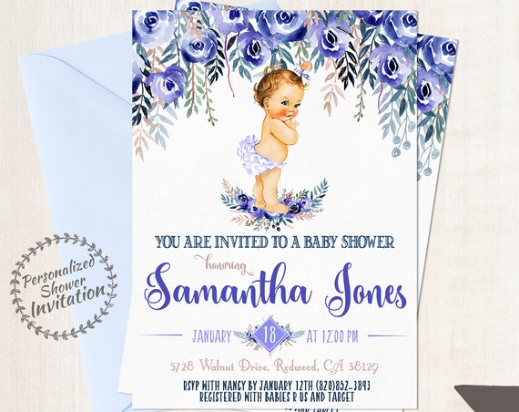 Vintage Baby Girl Baby Shower Invitations, Baby Shower Invitations, Printable Invitations, Baby Girl, Blonde, Blue, Red Hair, Floral 020
