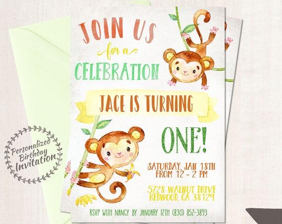 Monkey Birthday Party Invitations, Boy Birthday Invitations, Customizable, Monkey birthday party, Green, Printable Invitations, Boy 079