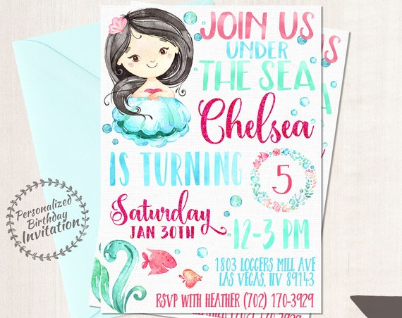 Mermaid Birthday Invitations, Mermaid Birthday Party, Customizable, Beach, Girl Birthday, Printable Invitations, Pink, Teal, Black Hair 066