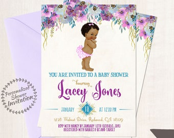 African American Vintage Baby Girl, Baby Shower Invitations, Printable Baby Shower Invitations, Baby Girl, Black, Teal, Purple, Floral 019