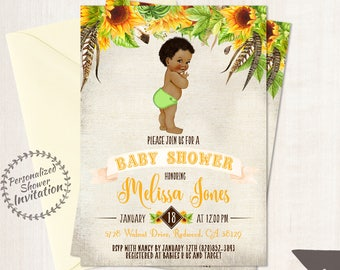 Sunflower Boy Baby Shower Invitations, African American Vintage Baby, Printable Baby Shower Invitations, Black, Yellow, Sunflower Floral 014