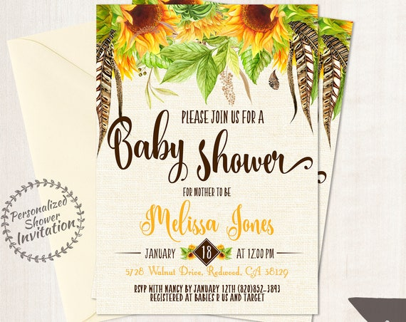 Sunflower Baby Shower Invitations, Sunflower Boho, Baby Shower Invitations, Printable Invitations, Yellow, Sunflowers, Fall, Floral 013