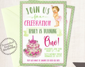 Vintage Baby Girl First Birthday Party, Printable Invitations, Baby Girl, First Birthday, Pink, Green, Floral Cake, Cute Baby Girl 104