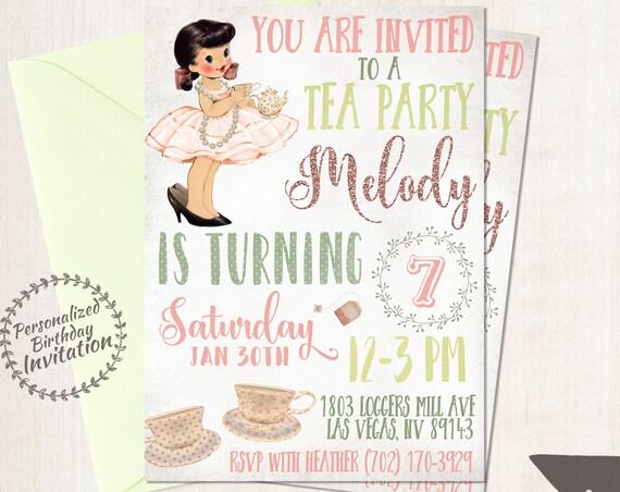 Vintage Tea Party Birthday Invitations, Cute Birthday, Girl Birthday Invitations, Tea Party Birthday, Printable Invitations, Vintage 045