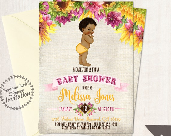Sunflower Boy Baby Shower Invitations, African American Vintage Baby, Printable Baby Shower Invitations, Pink, Yellow, Sunflower Floral 016