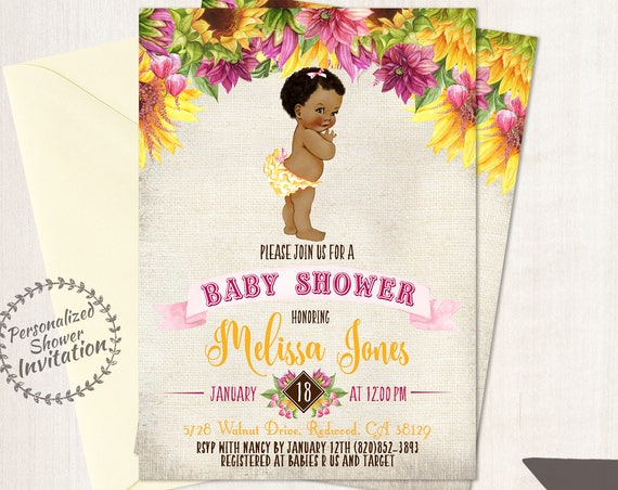 Sunflower Baby Shower Invitations, African American Vintage Baby Girl, Printable Baby Shower Invitations, Baby Girl, Yellow, Pink 016