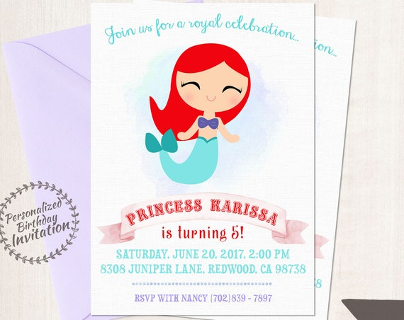 Princess Ariel Customizable Birthday Invitations, Princess, Girl Birthday Invitations, Ariel Birthday, Printable, Ariel Mermaid Birthday 053
