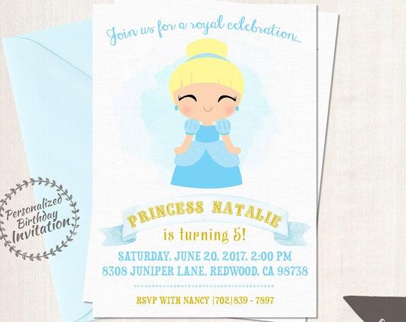 Princess Cinderella Birthday Invitations,  Customizable, Princess, Girl Birthday Invitations, Cinderella Birthday, Printable, Party 061
