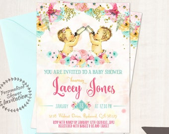 Boy and Girl Twins, Vintage Baby Shower Invitations, Baby Shower Invitation, Printable Baby Shower Invitation, Twins, Teal, Pink, Floral 001