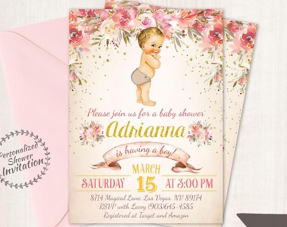 Vintage Baby Boy Baby Shower Invitations, Floral Baby Shower Invitations, Printable Invitations, Baby Boy, Pink, Floral 023