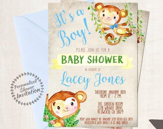 Blue Monkey, Boy Baby Shower Invitations, Printable Invitations, Baby Boy, Safari, Jungle, Monkey, Blue, Grey, Nursery, Cute 011