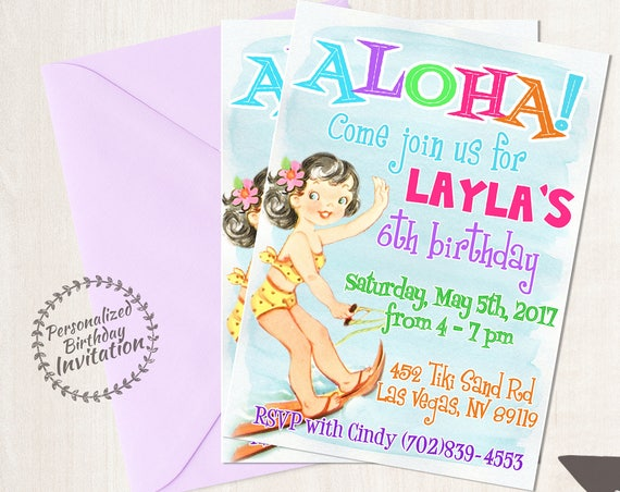 Vintage Aloha Luau Customizable Birthday Invitations, Customize, Girl Birthday Invitations, Luau Birthday, Printable Invitations, Hula 041